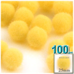 Pom Poms, solid Color, 1.0-inch (25mm), 100-pc, Sun Yellow