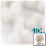 Acrylic Pom Poms, solid Color, 1.0-inch (25mm), 100-pc, White