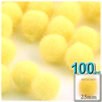 Acrylic Pom Poms, solid Color, 1.0-inch (25mm), 100-pc, Yellow
