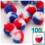 Pom Poms, Tri-Color, 1.0-inch (25mm), 100-pc, Red White and Blue