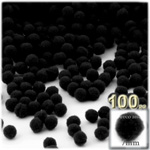 Acrylic Pom Poms, solid Color, 1.0-inch (7mm), 100-pc, Black