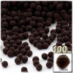 Pom Poms, solid Color, 1.0-inch (7mm), 100-pc, Dark Brown