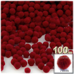 Acrylic Pom Poms, solid Color, 1.0-inch (7mm), 100-pc, Dark Red
