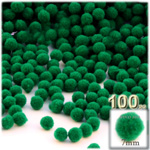 Pom Poms, solid Color, 1.0-inch (7mm), 100-pc, Emerald Green