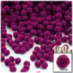 Acrylic Pom Poms, solid Color, 1.0-inch (7mm), 100-pc, Fuchsia
