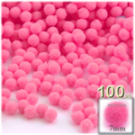 Acrylic Pom Poms, solid Color, 1.0-inch (7mm), 100-pc, Hot Pink
