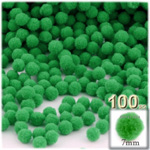 Pom Poms, solid Color, 1.0-inch (7mm), 100-pc, Light Green