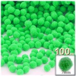Pom Poms, solid Color, 1.0-inch (7mm), 100-pc, Lime Green