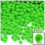 Pom Poms, solid Color, 1.0-inch (7mm), 100-pc, Neon Green