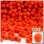 Pom Poms, solid Color, 1.0-inch (7mm), 100-pc, Neon Orange