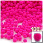 Acrylic Pom Poms, solid Color, 1.0-inch (7mm), 100-pc, Neon Pink