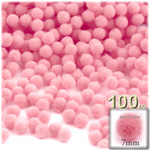Acrylic Pom Poms, solid Color, 1.0-inch (7mm), 100-pc, Pink