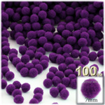 Acrylic Pom Poms, solid Color, 1.0-inch (7mm), 100-pc, Purple
