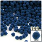 Pom Poms, solid Color, 1.0-inch (7mm), 100-pc, Royal Blue