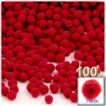Acrylic Pom Poms, solid Color, 1.0-inch (7mm), 100-pc, Red