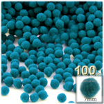 Pom Poms, solid Color, 1.0-inch (7mm), 100-pc, Turquoise Blue