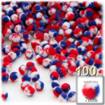 Pom Poms, Tri-Color, 1.0-inch (7mm), 100-pc, Red White and Blue
