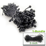 Pearl Stamen, Pistil Double End, 3mm, 1-Bundle, Black