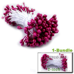 Pearl Stamen, Pistil Double End, 3mm, 1-Bundle, Fuchsia