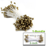 Pearl Stamen, Pistil Double End, 3mm, 1-Bundle, Rustic Gold