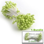 Pearl Stamen, Pistil Double End, 3mm, 1-Bundle, Lemon Lime Green