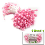 Pearl Stamen, Pistil Double End, 3mm, 1-Bundle, Pink