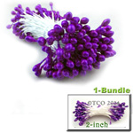 Pearl Stamen, Pistil Double End, 3mm, 1-Bundle, Purple