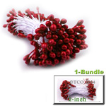 Pearl Stamen, Pistil Double End, 3mm, 1-Bundle, Red