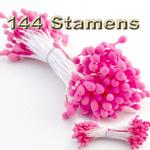 Floral Stamen, Vintage Solid, 144-pc, Hot Pink, Matt Hot Pink
