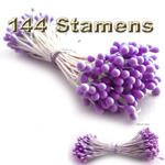 Pearlaized Floral Stamen, Vintage Solid, 144-pc, White, Purple