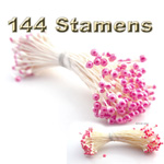 Pearl Stamen, Vintage two-tone, 144-pc, White Stem, White gray