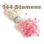 Stamen, Vintage two-tone top, 144-pc, White Stem, White Pink tip