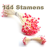 Pearl Stamen, Vintage two-tone, 144-pc, White Stem, White Red
