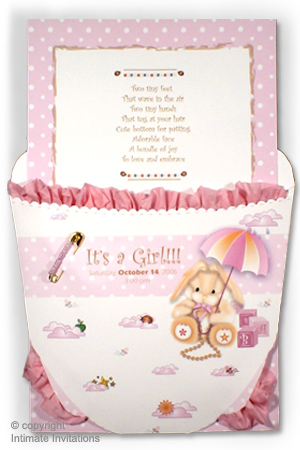 baby shower invitations ruffled baby diaper pink with carousel