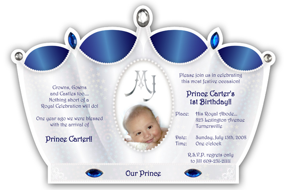 Little prince crown invitation silver with royal blue filmwisefo